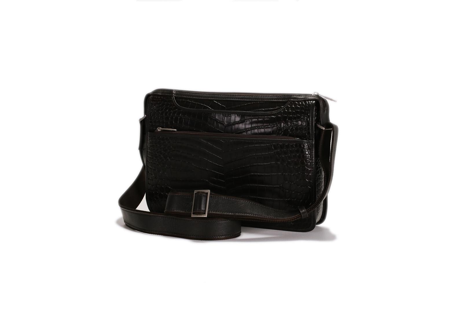 Croco Print Leather Shoulder Bag -139-1076