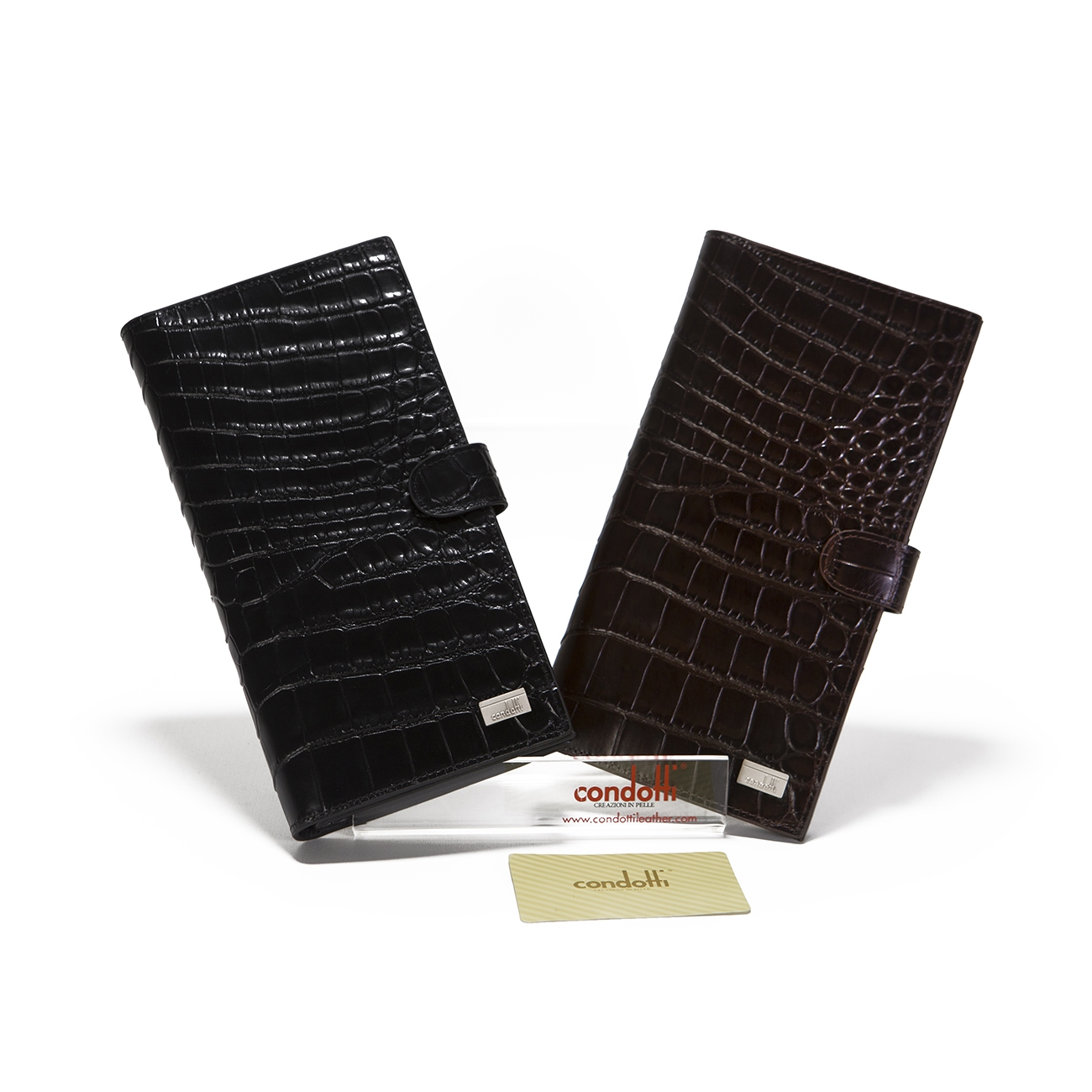Croco Print Leather Long Wallet - CODE 142-1858